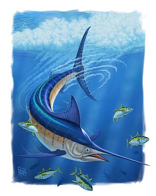 Digital Art - Marlin by Scott Ross