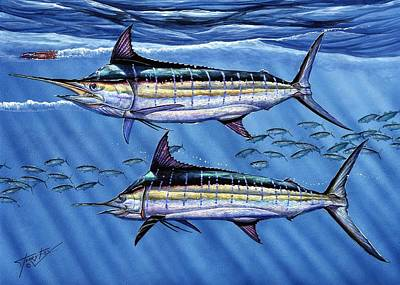 Blue Marlin Painting - Marlins Twins by Terry Fox