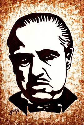 Vito Corleone Painting - Marlon Brando In Godfather Original Coffee Painting by Georgeta Blanaru