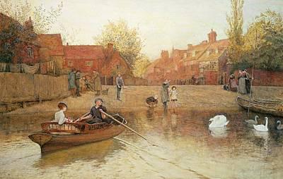 Swan Drawing - Marlow Ferry by Frederick Walker