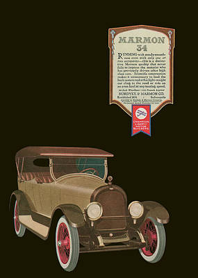 Marmon 34  - Vintage Poster Art Print by World Art Prints And Designs