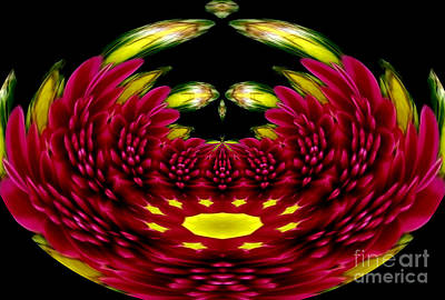 Kaleidoscopes Photograph - Maroon And Yellow Chrysanthemums Polar Coordinates Effect by Rose Santuci-Sofranko