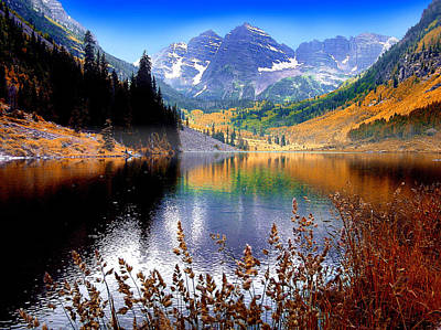 Mountain Royalty-Free and Rights-Managed Images - Maroon Bells at Maroon Lake by John Hoffman