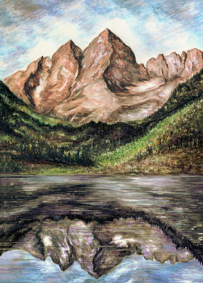 Painting - Maroon Bells Colorado - Landscape by Art America Gallery Peter Potter
