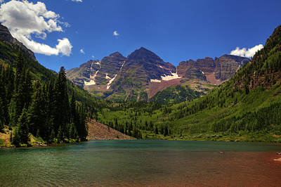Art Print featuring the photograph Maroon Bells From Maroon Lake by Alan Vance Ley