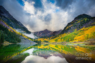 Reflective Photograph - Maroon Bells Morning Clouds by Inge Johnsson
