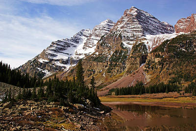 Photograph - Maroon Bells Over Crater Lake by Daniel Woodrum