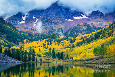 Autumn Scene Photograph - Maroon Bells Peaks by Inge Johnsson