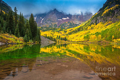Autumn Scene Photograph - Maroon Bells Reflection by Inge Johnsson