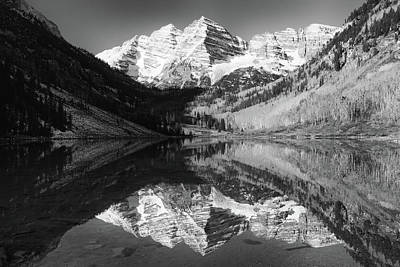 Maroon Bells Reflections - Black And White Art Print by Harold Rau