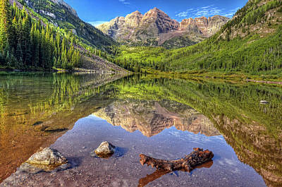 Trees And Lake Photograph - Maroon Bells Reflections by Ken Smith