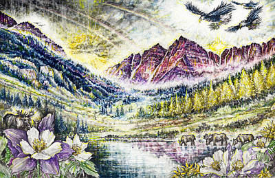 Maroon Bells  Art Print by Scott and Dixie Wiley