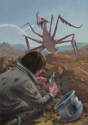 Painting - Marooned Astronaut Confronting Monster by Martin Davey