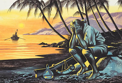 Ocean Sunset Painting - Marooned Man by Ron Embleton