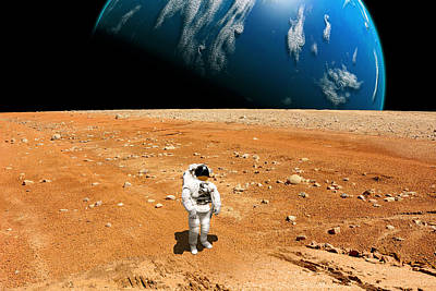 Outer Space Mixed Media - Marooned No.6h  by Marc Ward