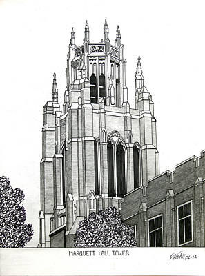 Drawing - Marquette University by Frederic Kohli