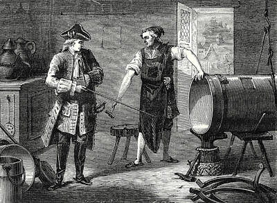 Cylinders Drawing - Marquis De Jouffrey Has A Cylinder For His Steam Engine by English School