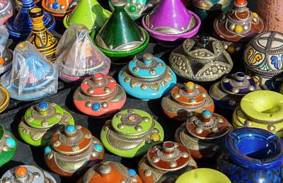 Medina Photograph - Marrakech, Morocco Main Medina Selling by Bill Bachmann
