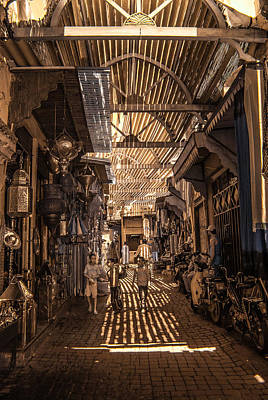 Photograph - Marrakech Souk With Children by Ellie Perla