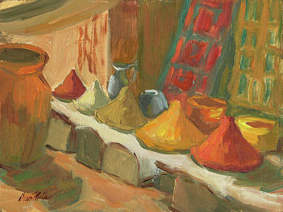 Marketplace Painting - Marrakesh Market by Diane McClary