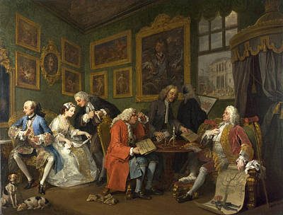 Marriage A-la-mode The Marriage Settlement Art Print by William Hogarth
