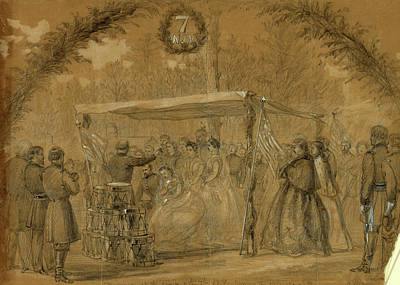Chinese American Drawing - Marriage At The Camp Of The 7th N.j.v. Army Of The Potomac by Quint Lox