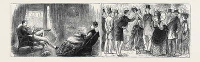 Merrion Drawing - Marriage By Advertisement Left Image Hatching The Plot by English School