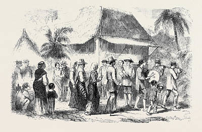 Marriage Procession In Manilla Art Print by English School