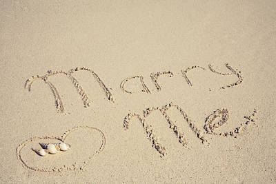 Marry Me Sign On The Sand At The Seaside Art Print by Maria Feklistova