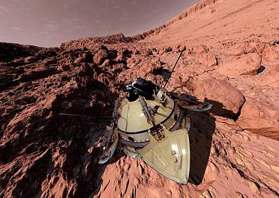Outer Space Photograph - Mars 2 Landing by Detlev Van Ravenswaay