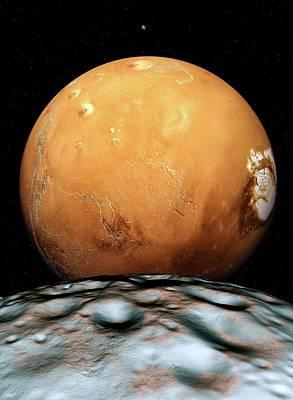 Mars And Its Moons Art Print