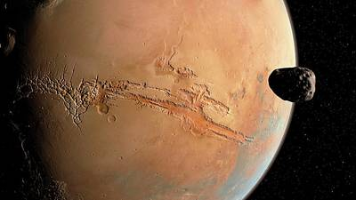 Mars And Phobos Art Print