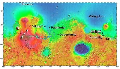 Elevation Photograph - Mars Mission Landing Sites by Nasa/jpl-caltech