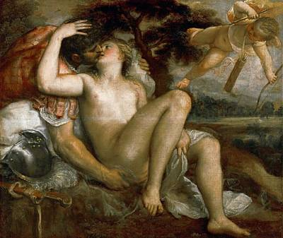 Mars Venus And Amor Art Print by Titian