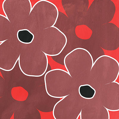 Marsala And Red Flowers- Bold Floral Art Art Print by Linda Woods