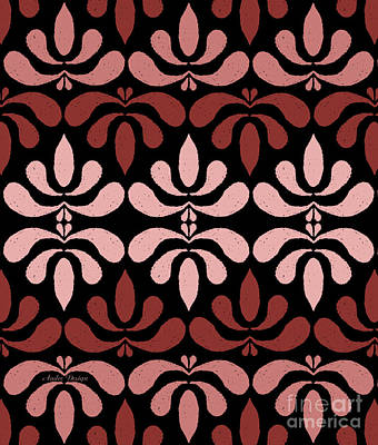 Digital Art - Marsala Petals On Black 1 by Andee Design