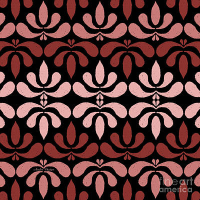 Digital Art - Marsala Petals On Black 2 by Andee Design