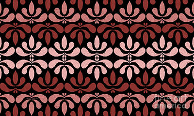 Digital Art - Marsala Petals On Black 4 by Andee Design