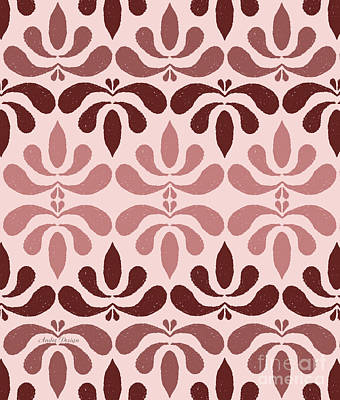 Digital Art - Marsala Petals On Pink 1 by Andee Design