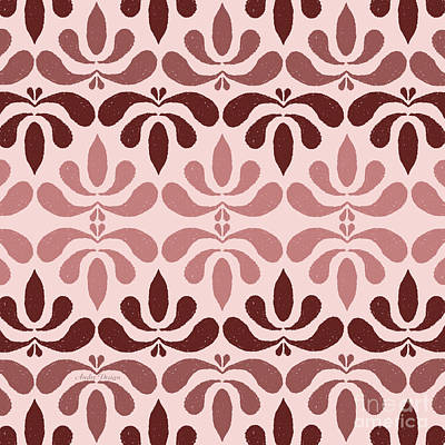 Digital Art - Marsala Petals On Pink 2 by Andee Design