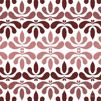 Digital Art - Marsala Petals On White 2 by Andee Design