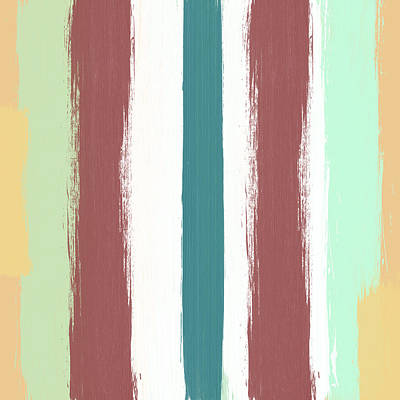Royalty-Free and Rights-Managed Images - Marsala Stripe- abstract pattern painting by Linda Woods