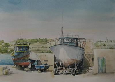 Marsaxlokk Painting - Marsaxlokk Boats by Diane Agius