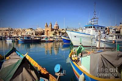Marsaxlokk Photograph - Marsaxlokk Harbour Malta by David Gardener