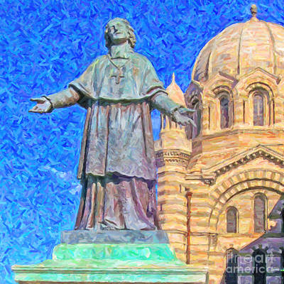 Byzantine Digital Art - Marseille Cathedral Painting by Antony McAulay