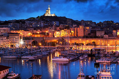 Photograph - Marseille France Panorama At Night by Michal Bednarek