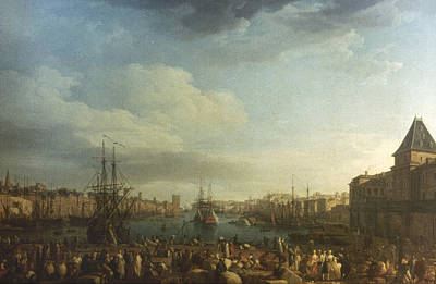 1754 Painting - Marseille Port, 1754 by Granger
