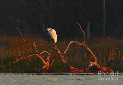 Art Print featuring the digital art Marsh Bird Sunrise by Deborah Smith