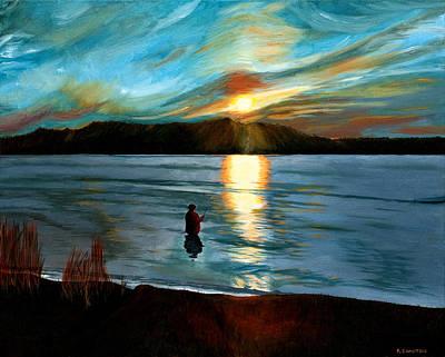 Marsh Creek October Sunset Art Print by Phillip Compton