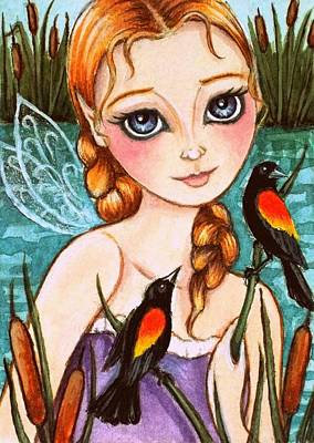 Fruits And Vegetables Still Life - Marsh Fairy w/ Red-winged Blackbirds 2 by Debrah Nelson